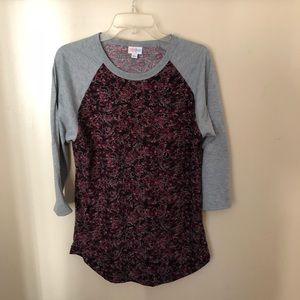 Lularoe Randy Tee L 3/4 grey sleeves floral print